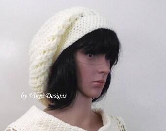 Off White Cream Crochet Winter Women Slouchy Beanie Hat by Vikni Designs