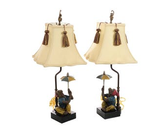 Monkeys holding an Umbrella -Beautiful Vintage Table Lamps-a Pair