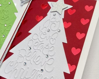 Embossed Christmas Tree card. Red, Pink, Purple, Green. Joy Love Peace Believe Christmas. Xmas tree greeting card. Hearts and rhinestones.