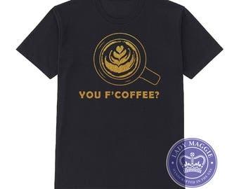 Coffee Gold Glitter T-Shirt - Coffee Shirt - Gold Glitter Coffee TShirt - Coffee Gift Coffee Lover Shirt - Latte Art Tulip - Barista