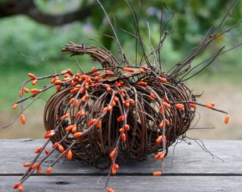 Rustic Fall Decor Pumpkin With Orange Berries