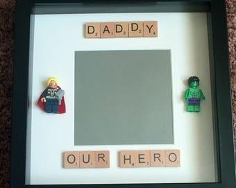 Daddy Our Hero Lego Figure Photo Box Frame. Black Frame. Hulk. Thor. Daddy Gift. Christmas Gift.