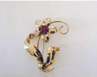 On Sale Art Deco to Retro yellow gold filled and garnet red rhinestone floral brooch
