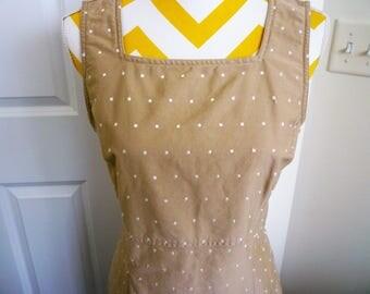 Sundress ~ Liz Claiborne, Embroidery Hemline.Empire Style,  Kakii tan, size 12, Zipper Back
