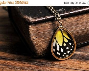 20% OFF Butterfly wing necklace, antique brass necklace, tear drop necklace, tear drop pendant, glass necklace, yellow necklace, butterfly n