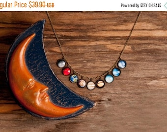 20% OFF Realistic solar system necklace, silver or brass necklace, planet necklace, universe necklace, galaxy necklace, actual solar system