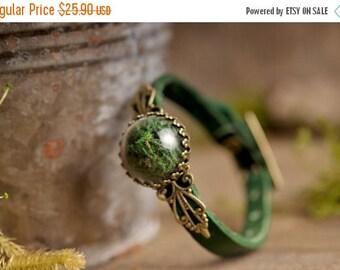 20% OFF Moss bracelet, terrarium bracelet, green leather bracelet, adjustable bracelet, antique brass bracelet, genuine leather bracelet,