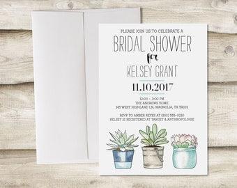 Bridal Shower Invitation, Succulent Bridal Shower Invitation, Garden Bridal Shower Invite, Bridal Shower with Succulent Invitation