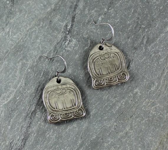 Maya Calendar Symbol earrings ~ Artisan Handcrafted