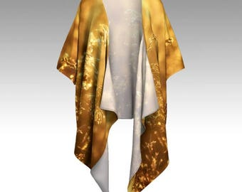 "Elegant Designer-Style Draped KIMONO JACKET ~ ""Fields of Gold"" / Exclusive Design / Classy, Stylish, Unique Apparel"