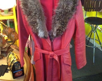 Red Leather Jacket with Fur Collar