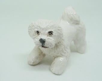 Bichon frise porcelain miniature sculpture