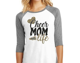 Cheer Mom Raglan - Cheer Mom Bling - Cheer Mom Glitter- Sparkle T shirt- Cheerleaders Mom- Cheer Mom Life - Cheer Life - Custom Cheer Tee