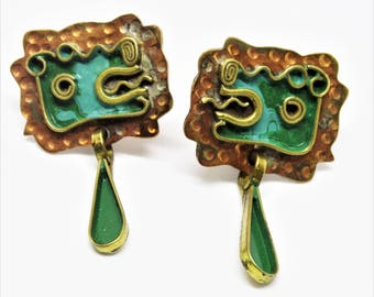 Casa Maya Mexico Mixed Metal Copper Brass and Enamel Serpent Screw Back Earrings