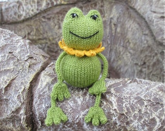 Knit baby toy baby stuff, knitted frog amigurumi frog stuffed animal, knit plush animal froggy baby amigurumi