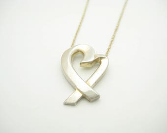 """Tiffany & Co. Sterling Silver Paloma Picasso Large Loving Heart Necklace 19"""""""