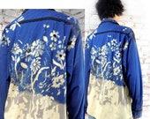 romantic Bohemian shirt , Mori Girl clothing , OOAK shirt , Blue plaid shirt ,grunge shirt,  Boyfriend shirt, upcycled shirt,   # 108
