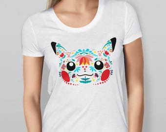 Womens Pikachu Inspired Folk Art - White T-shirt