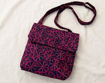 Clearance purple wheels and black cotton cross body bag, messenger bag
