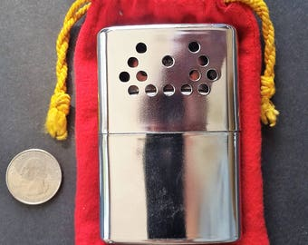 Vintage 1960s Jon-E Metal Pocket, Hand Warmer, Heater ~ Nice Condition- Made in U.S.A.~ Hunting, Fishing, Camping