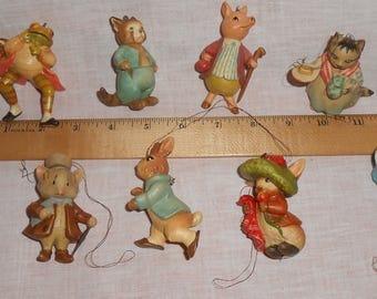9 Beatrix Potter Tree Ornaments Vintage Christmas Farm Animal LOT Peter Rabbit 1978 Vintage ANRI Toriart