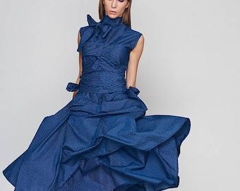 ON SALE Dresses Oversized Dress, Loose Dress, Blue Dress, Turtleneck Dress, Plus Size Boho Dress, Holiday Dress, Sun Dress, Ribbon Dress, Bl