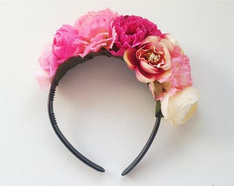 Beige X Pink 'STEVIE' Dahlia and Rose floral headpiece/ headband