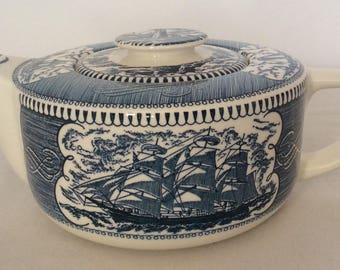 Royal China Vintage Currier And Ives Nautical Theme Teapot With Lid