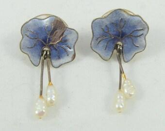 Stylized lavender lotus enamel gold over sterling stud earrings w. cultured pearl- as it is