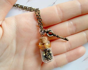 Mini vial and key steampunk necklace