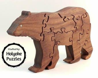 Bear wood puzzle - Stand up Jigsaw Puzzle in Walnut - Wooden puzzle