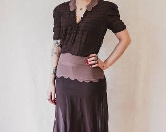 rayon chiffon 1930s chocolate brown shirred dress with contrasting collar and waistband