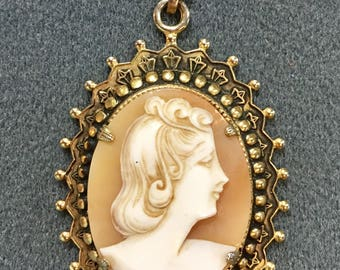 1940's Hand Carved Shell Cameo Pendant.  Free shipping