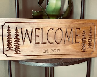 Custom Carved Signs, Rustic Family Sign, Welcome Signs, Established Plaques, Cabin Signs, carved Signs,  Camping Signs, Benchmark Signs