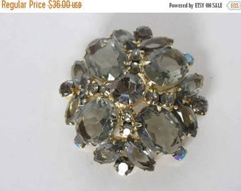 SUMMER SALE DELIZZA & Elster Juliana Black Diamond Rhinestone Domed Brooch - Book Piece
