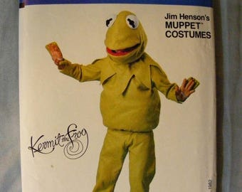 ON SALE 35% OFF Child's Kermit the Frog Jim Henson Vogue Costume Sewing Pattern 8476 Size Small Medium