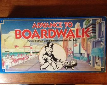 1985 Parker Brothers Advance to Boardwalk game (stylishly) brings you the best and most exciting elements of more traditional Monopoly sets