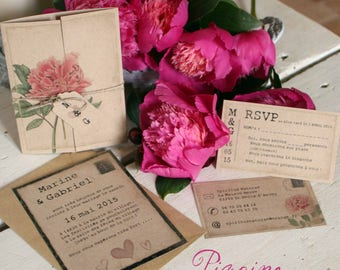 Wedding invitation / Birth / Christening x10 theme PEONY