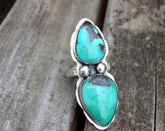 Hubei Turquoise Double Stone Sterling Silver ring Size 7