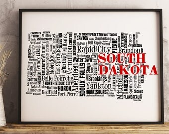 South Dakota Map Art, South Dakota Art Print, South Dakota City Map, South Dakota Typography Art, South Dakota Wall Decor