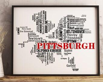 Pittsburgh Map Art, Pittsburgh Art Print, Pittsburgh Neighborhood Map, Pittsburgh Typography Art, Pittsburgh Wall Decor, Pittsburgh Gift