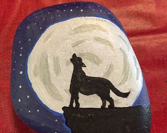 Wolf Howling at the Moon Painted Rock