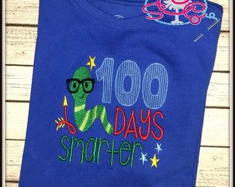 Bookworm 100 Days Smarter Shirt--Bookworm Shirt--100 Days of School Shirt--100 Days Smarter Shirt