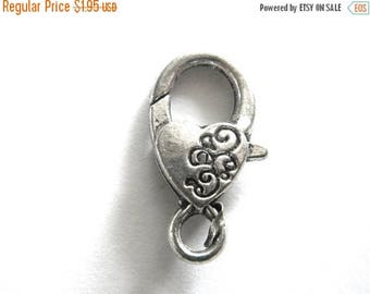 """HALF PRICE Large Silver Heart Lobster Clasp (1"""")"""