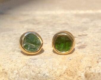 Raw Stone Studs, Raw Chrome Diopside Gold Stud Earrings, Raw Gemstone Earrings, Raw Stone Studs, Chrome Diopside Gold Earrings