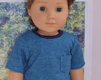 18 inch Boy Doll Clothes. Boy doll T-shirt  made to fit  such as American Girl Doll.