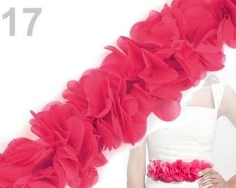 Organza Ribbon gathered 6 cm hot pink