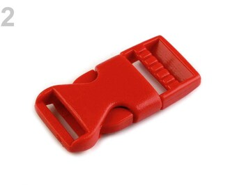 2 buckle strap 15 mm red plastic