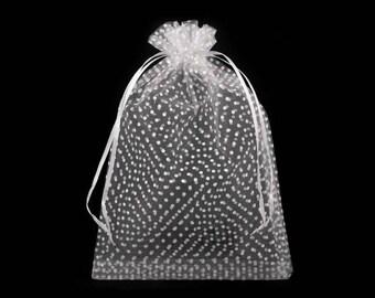 3 white dots 16 cm x 24 cm organza bag