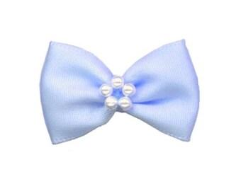 4 sky blue satin ribbon bow and pearls